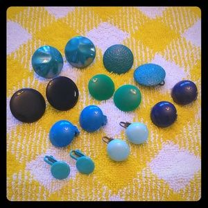Ocean Color Vintage Button Clip Ons 8 Pair